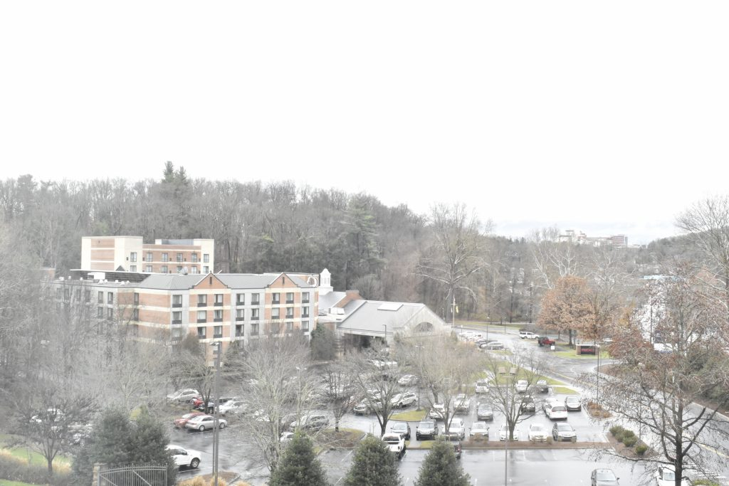 Rainy winter day in Asheville, North Carolina at the DoubleTree by Hilton Asheville - Biltmore